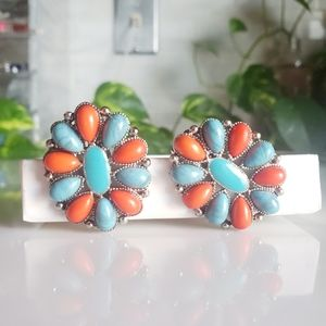 Faux Turquoise and Coral Clip On Earrings